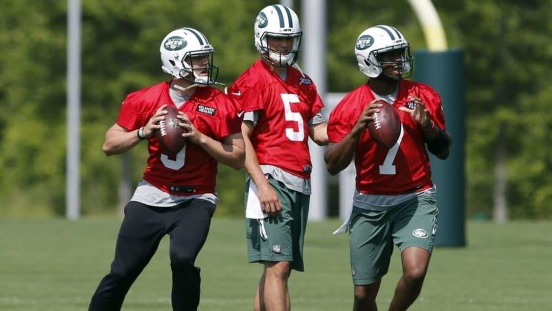 May 25, 2016; New York, NY, USA; New York Jets quarterbacks Bryce Petty (9), Christian Hackenberg (5) and Geno Smith (7) during OTA at Atlantic Health Training Center. Mandatory Credit: Noah K. Murray-USA TODAY Sports