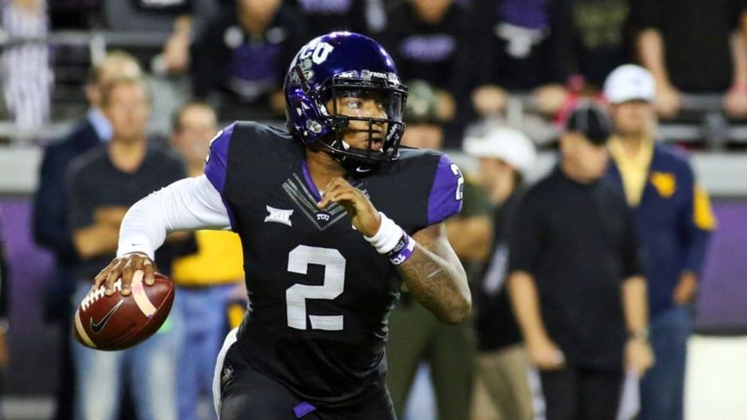 Oct 29, 2015; Fort Worth, TX, USA; TCU Horned Frogs quarterback Trevone Boykin (2) in the pocket during the second quarter of a game against the West Virginia Mountaineers at Amon G. Carter Stadium. Mandatory Credit: Ray Carlin-USA TODAY Sports