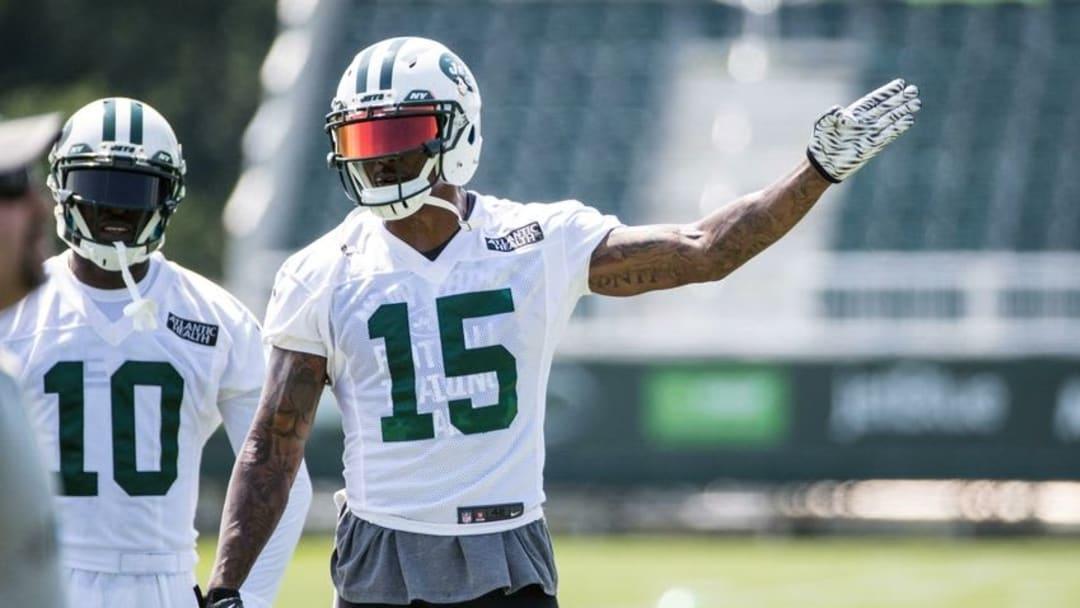 Jul 28, 2016; Florham Park, NJ, USA; New York Jets wide receiver Brandon Marshall (15) points during training camp at Atlantic Health Jets Training Center. Mandatory Credit: Vincent Carchietta-USA TODAY Sports