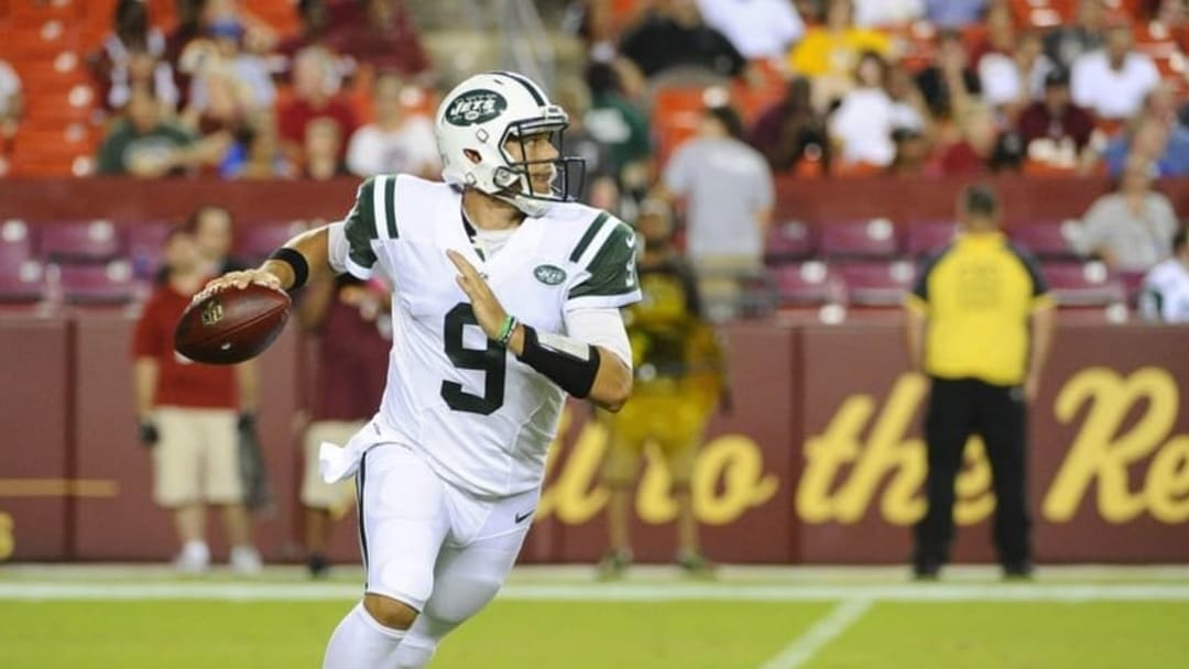 Aug 19, 2016; Landover, MD, USA; New York Jets quarterback Bryce Petty (9) rolls out against the Washington Redskins during the second half at FedEx Field. Mandatory Credit: Brad Mills-USA TODAY Sports