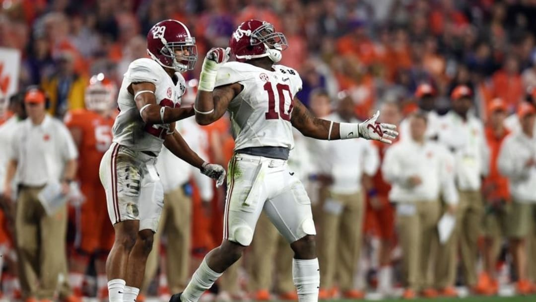 Jan 11, 2016; Glendale, AZ, USA; Alabama Crimson Tide linebacker Reuben Foster (10) celebrates after a play during the second quarter against the Clemson Tigers in the 2016 CFP National Championship at University of Phoenix Stadium. Mandatory Credit: Joe Camporeale-USA TODAY Sports
