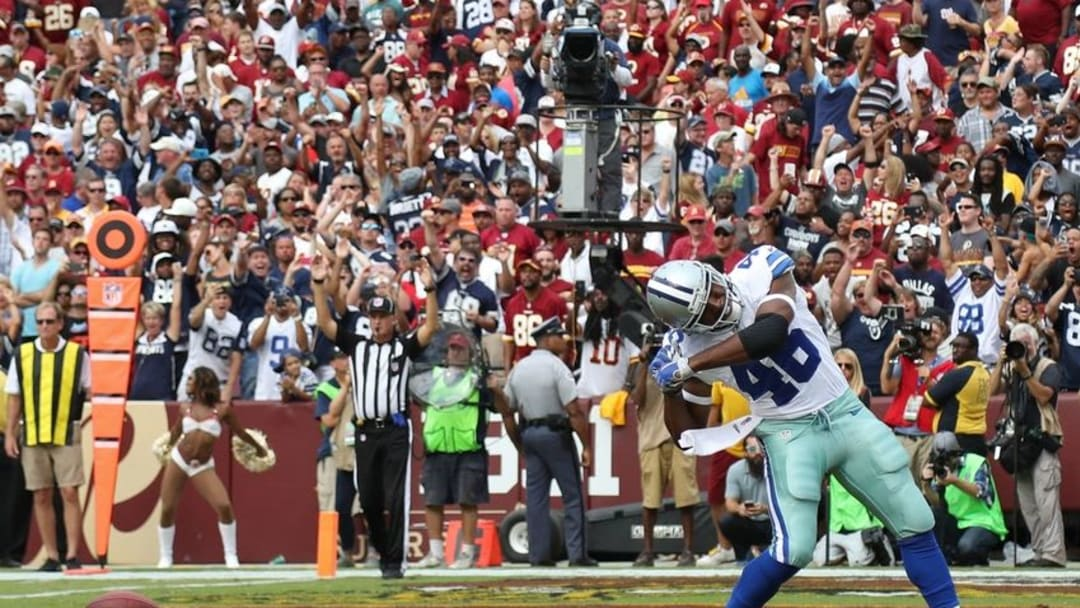 Sep 18, 2016; Landover, MD, USA; Dallas Cowboys running back Alfred Morris (46) celebrates after scoring the go-ahead touchdown against the Washington Redskins in the fourth quarter at FedEx Field. The Cowboys won 27-23. Mandatory Credit: Geoff Burke-USA TODAY Sports