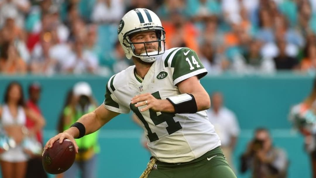 Nov 6, 2016; Miami Gardens, FL, USA; New York Jets quarterback Ryan Fitzpatrick (14) attempts a pass against the Miami Dolphins during the second half at Hard Rock Stadium. The Miami Dolphins defeat the New York Jets 27-23. Mandatory Credit: Jasen Vinlove-USA TODAY Sports
