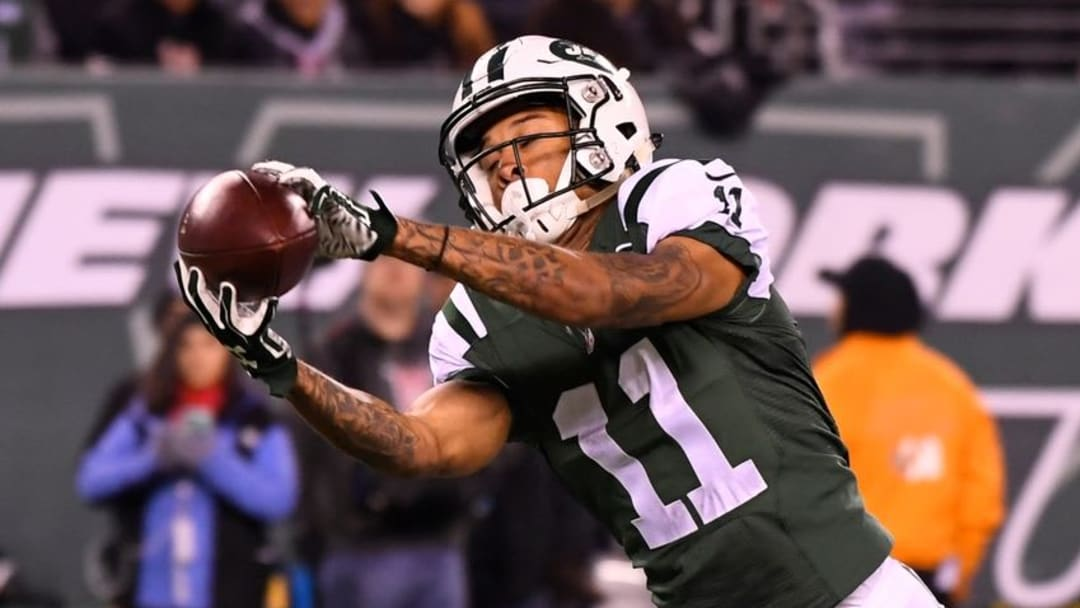 Dec 5, 2016; East Rutherford, NJ, USA; New York Jets wide receiver Robby Anderson (11) gathers in a second half touchdown pass against the Indianapolis Colts at MetLife Stadium. Mandatory Credit: Robert Deutsch-USA TODAY Sports