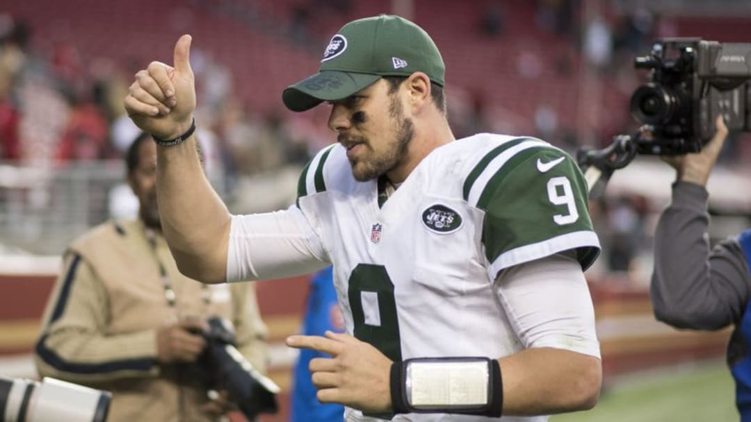 December 11, 2016; Santa Clara, CA, USA; New York Jets quarterback Bryce Petty (9) celebrates after the game against the San Francisco 49ers at Levi
