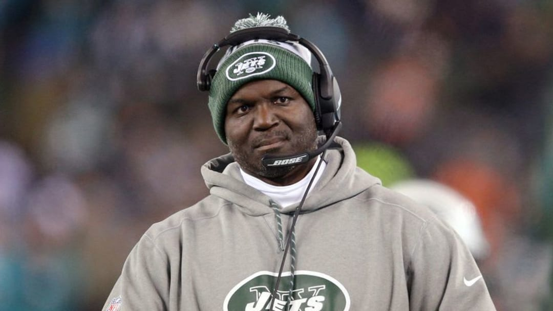 Dec 17, 2016; East Rutherford, NJ, USA; New York Jets head coach Todd Bowles coaches against the Miami Dolphins during the third quarter at MetLife Stadium. Mandatory Credit: Brad Penner-USA TODAY Sports