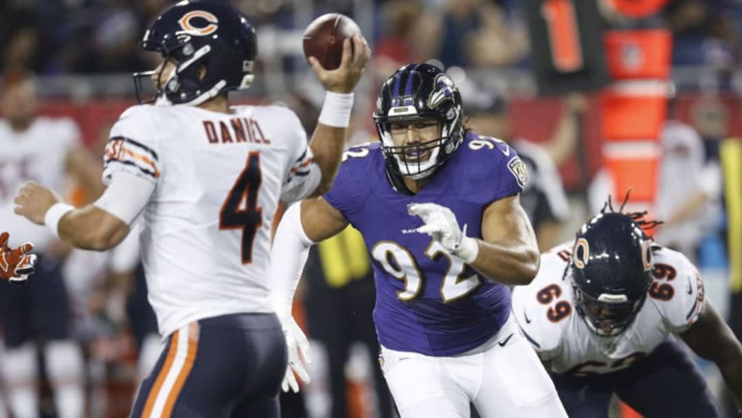 CANTON, OH - AUGUST 02: Bronson Kaufusi #92 of the Baltimore Ravens rushes against Chase Daniel #4 of the Chicago Bears in the first quarter of the Hall of Fame Game at Tom Benson Hall of Fame Stadium on August 2, 2018 in Canton, Ohio. (Photo by Joe Robbins/Getty Images)