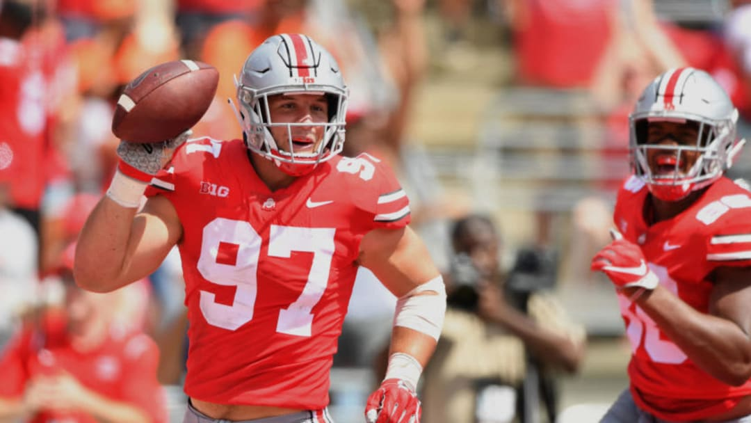 COLUMBUS, OH - SEPTEMBER 1: Nick Bosa #97 of the Ohio State Buckeyes celebrates after recovering a fumble in the end zone for a touchdown in the second quarter against the Oregon State Beavers at Ohio Stadium on September 1, 2018 in Columbus, Ohio. (Photo by Jamie Sabau/Getty Images)