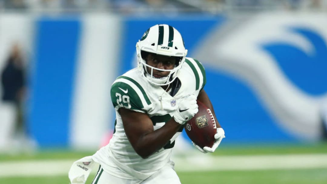DETROIT, MI - SEPTEMBER 10: Bilal Powell #29 of the New York Jets runs the ball in the second quarter against the Detroit Lions at Ford Field on September 10, 2018 in Detroit, Michigan. (Photo by Rey Del Rio/Getty Images)