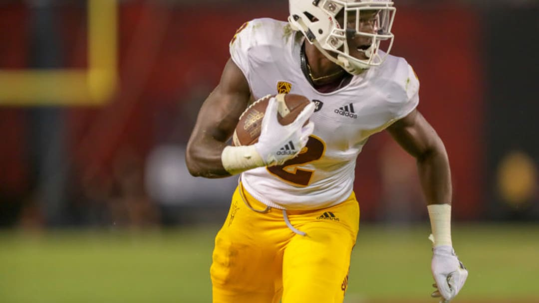 SAN DIEGO, CA - SEPTEMBER 15: Brandon Aiyuk #2 of the Arizona State Sun Devils scores a touchdown in the first half against the San Diego State Aztecs at SDCCU Stadium on September 15, 2018 in San Diego, California. (Photo by Kent Horner/Getty Images)