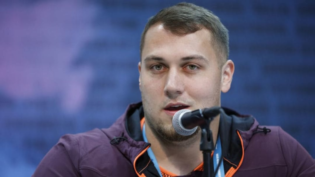 INDIANAPOLIS, IN - FEBRUARY 28: Offensive lineman Ross Pierschbacher of Alabama speaks to the media during day one of interviews at the NFL Combine at Lucas Oil Stadium on February 28, 2019 in Indianapolis, Indiana. (Photo by Joe Robbins/Getty Images)
