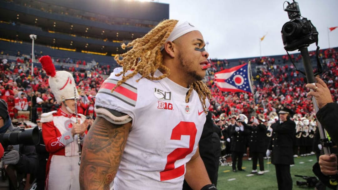 ANN ARBOR, MI - NOVEMBER 30: Chase Young #2 of the Ohio State Buckeyes celebrates a win over the Michigan Wolverines at Michigan Stadium on November 30, 2019 in Ann Arbor, Michigan. Ohio State defeated Michigan 56-27. (Photo by Leon Halip/Getty Images)