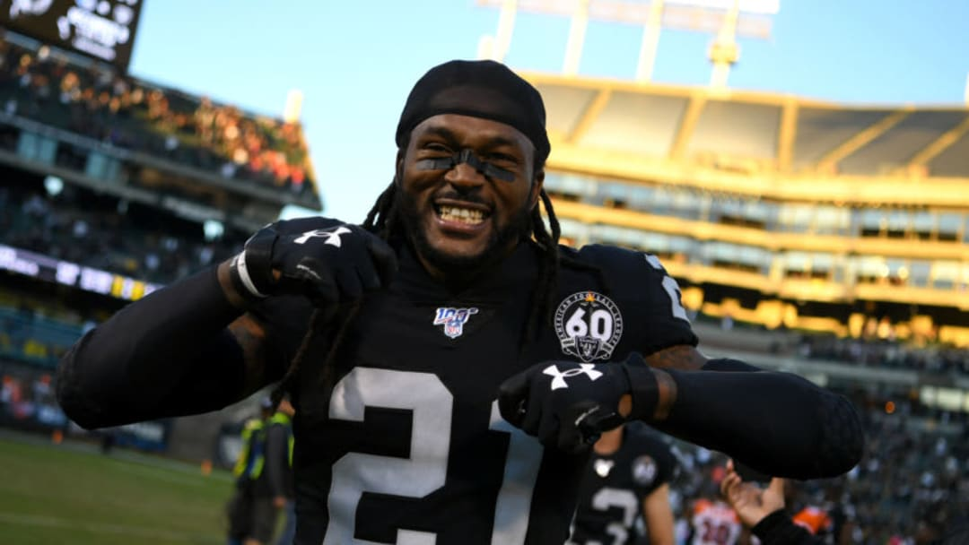 OAKLAND, CALIFORNIA - NOVEMBER 17: D.J. Swearinger #21 of the Oakland Raiders celebrates after defeating the Cincinnati Bengals 17-10 in their NFL game at RingCentral Coliseum on November 17, 2019 in Oakland, California. (Photo by Robert Reiners/Getty Images)