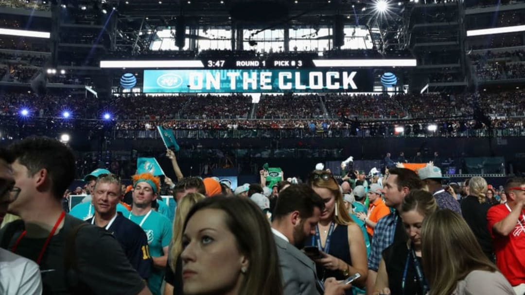 """ARLINGTON, TX - APRIL 26: A video board displays the text """"ON THE CLOCK"""" for the New York Jets during the first round of the 2018 NFL Draft at AT&T Stadium on April 26, 2018 in Arlington, Texas. (Photo by Ronald Martinez/Getty Images)"""