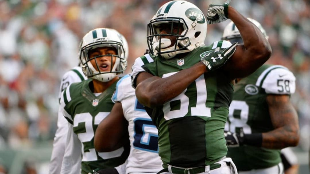 EAST RUTHERFORD, NJ - DECEMBER 13: Quincy Enunwa #81 of the New York Jets celebrates after a tackle in the second quarter against the Tennessee Titans during their game at MetLife Stadium on December 13, 2015 in East Rutherford, New Jersey. (Photo by Alex Goodlett/Getty Images)