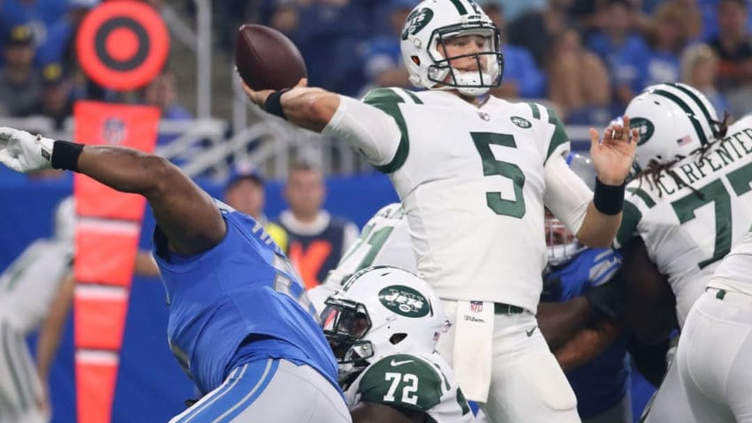 DETROIT, MI - AUGUST 19: Christian Hackenberg #5 of the New York Jets drops back to pass during the first quarter of the preseason game against the Detroit Lions on August 19, 2017 at Ford Field in Detroit, Michigan. The Lions defeated the Jets 16-6. (Photo by Leon Halip/Getty Images)