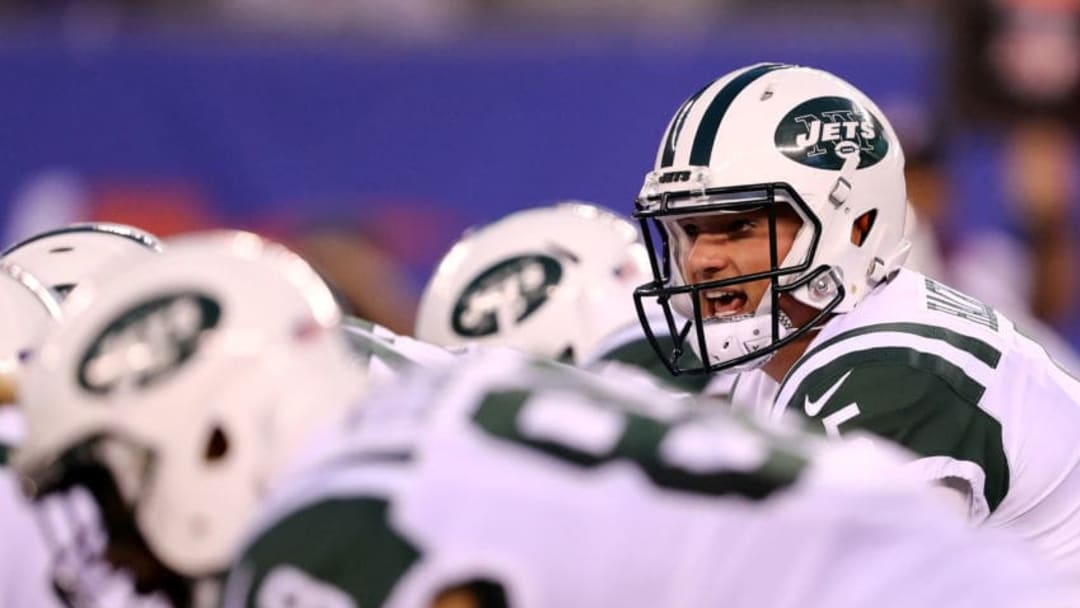 EAST RUTHERFORD, NJ - AUGUST 26: Christian Hackenberg #5 of the New York Jets calls out the play in the first quarter against the New York Giants during a preseason game on August 26, 2017 at MetLife Stadium in East Rutherford, New Jersey (Photo by Elsa/Getty Images)