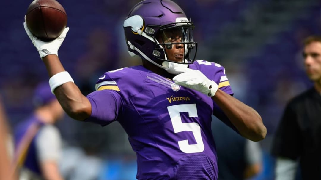 MINNEAPOLIS, MN - AUGUST 28: Teddy Bridgewater #5 of the Minnesota Vikings warms up before the game against the San Diego Chargers on August 28, 2016 at US Bank Stadium in Minneapolis, Minnesota. (Photo by Hannah Foslien/Getty Images)