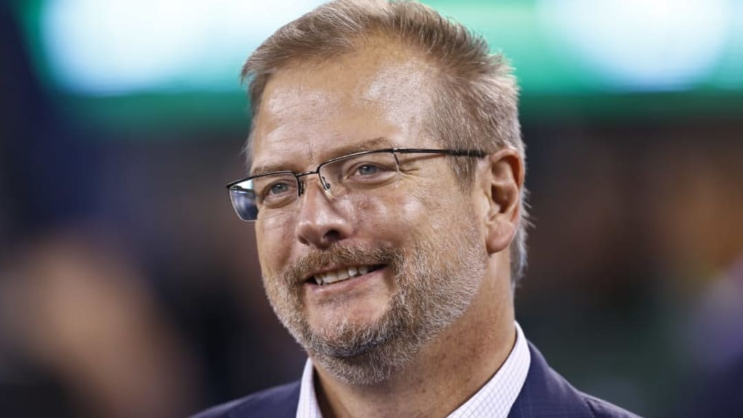 EAST RUTHERFORD, NJ - AUGUST 31: New York Jets general manager Mike Maccagnan stands on the sidelines during their preseason game against the Philadelphia Eagles at MetLife Stadium on August 31, 2017 in East Rutherford, New Jersey. (Photo by Jeff Zelevansky/Getty Images)