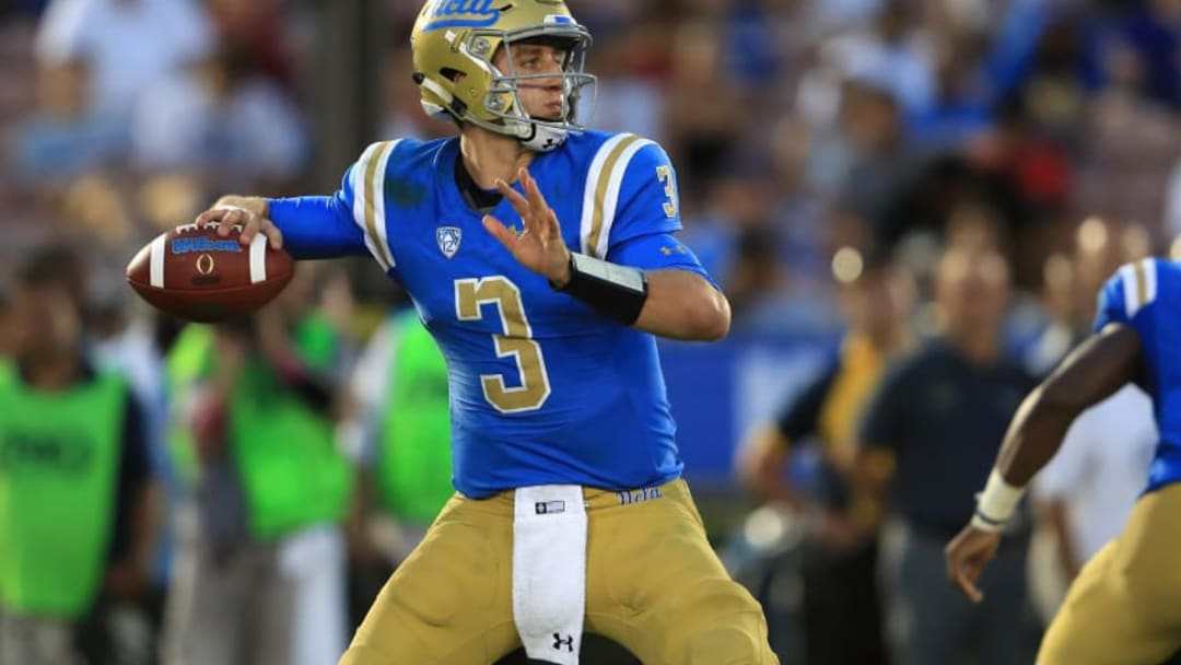 PASADENA, CA - SEPTEMBER 03: Josh Rosen #3 of the UCLA Bruins passes the ball during the second half of a game against the UCLA Bruins at the Rose Bowl on September 3, 2017 in Pasadena, California. (Photo by Sean M. Haffey/Getty Images)