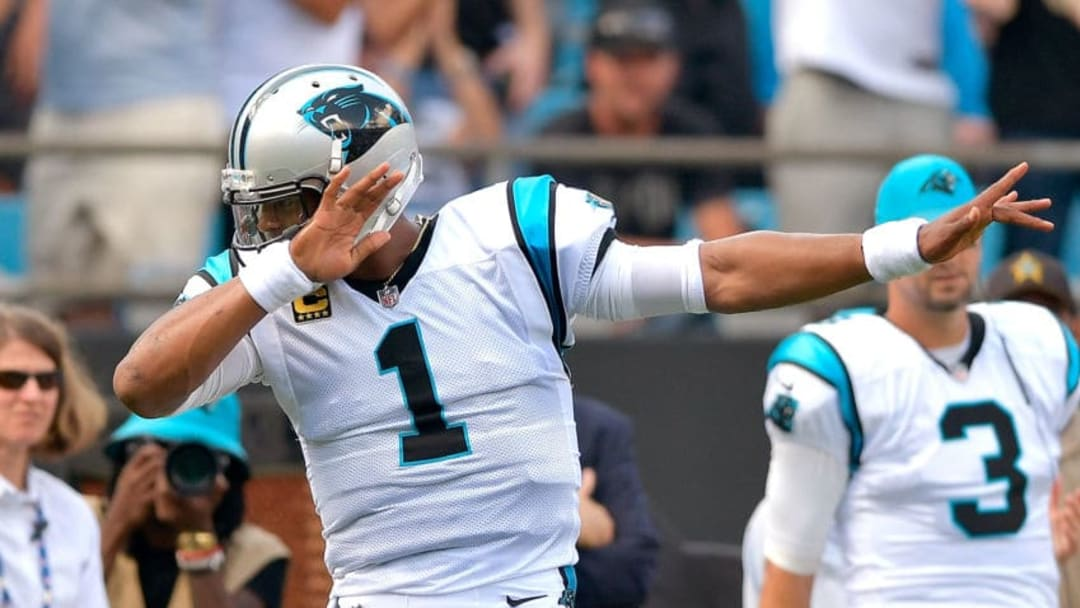 CHARLOTTE, NC - SEPTEMBER 17: Cam Newton #1 of the Carolina Panthers reacts after running for a first down against the Buffalo Bills during their game at Bank of America Stadium on September 17, 2017 in Charlotte, North Carolina. (Photo by Grant Halverson/Getty Images)