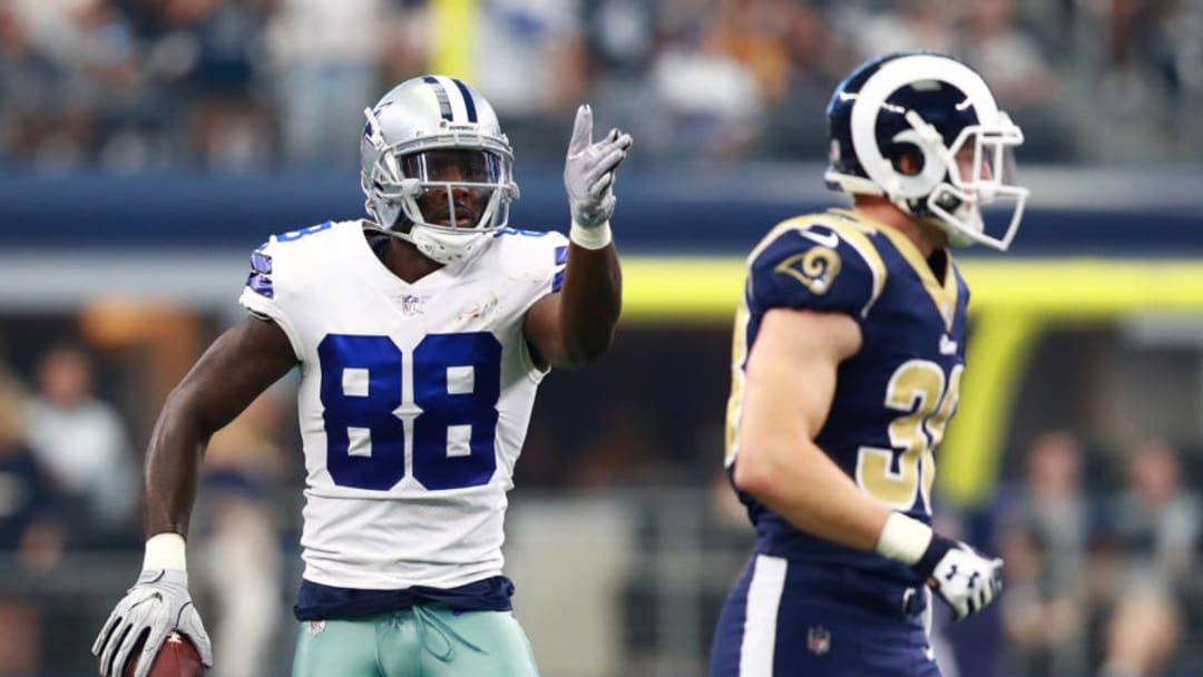 ARLINGTON, TX - OCTOBER 01: Dez Bryant #88 of the Dallas Cowboys gestures for a first down in the first half of a game against the Los Angeles Rams at AT&T Stadium on October 1, 2017 in Arlington, Texas. (Photo by Tom Pennington/Getty Images)