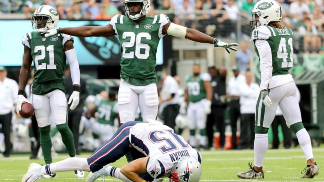 EAST RUTHERFORD, NJ - OCTOBER 15: Marcus Maye #26 of the New York Jets reacts in the first half after making a defensive stop against Chris Hogan #15 of the New England Patriots during their game at MetLife Stadium on October 15, 2017 in East Rutherford, New Jersey. (Photo by Abbie Parr/Getty Images)