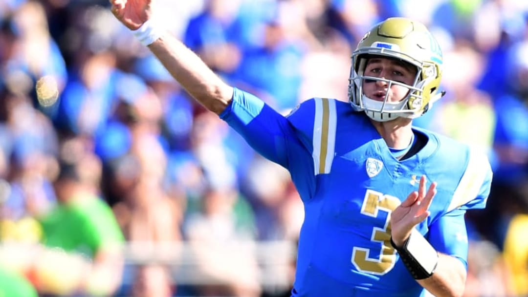 PASADENA, CA - OCTOBER 21: Josh Rosen #3 of the UCLA Bruins passes in the pocket during a 31-14 win over the Oregon Ducks at Rose Bowl on October 21, 2017 in Pasadena, California. (Photo by Harry How/Getty Images)