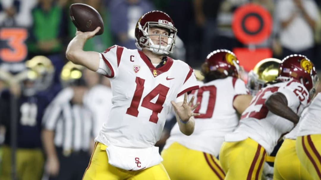 SOUTH BEND, IN - OCTOBER 21: Sam Darnold #14 of the USC Trojans throws a pass in the first quarter of a game against the Notre Dame Fighting Irish at Notre Dame Stadium on October 21, 2017 in South Bend, Indiana. (Photo by Joe Robbins/Getty Images)