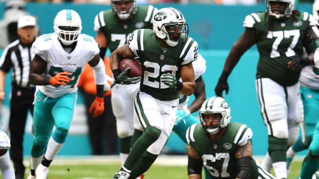 MIAMI GARDENS, FL - OCTOBER 22: Matt Forte #22 of the New York Jets rushes during a game against the Miami Dolphins at Hard Rock Stadium on October 22, 2017 in Miami Gardens, Florida. (Photo by Rob Foldy/Getty Images)