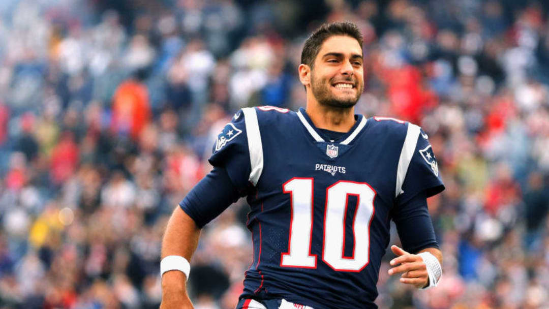 FOXBORO, MA - OCTOBER 29: Jimmy Garoppolo #10 of the New England Patriots reacts before a game against the Los Angeles Chargers at Gillette Stadium on October 29, 2017 in Foxboro, Massachusetts. (Photo by Jim Rogash/Getty Images)