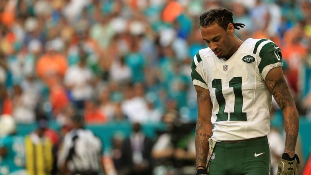 MIAMI GARDENS, FL - NOVEMBER 06: Robby Anderson #11 of the New York Jets looks on during a game against the Miami Dolphins at Hard Rock Stadium on November 6, 2016 in Miami Gardens, Florida. (Photo by Mike Ehrmann/Getty Images)