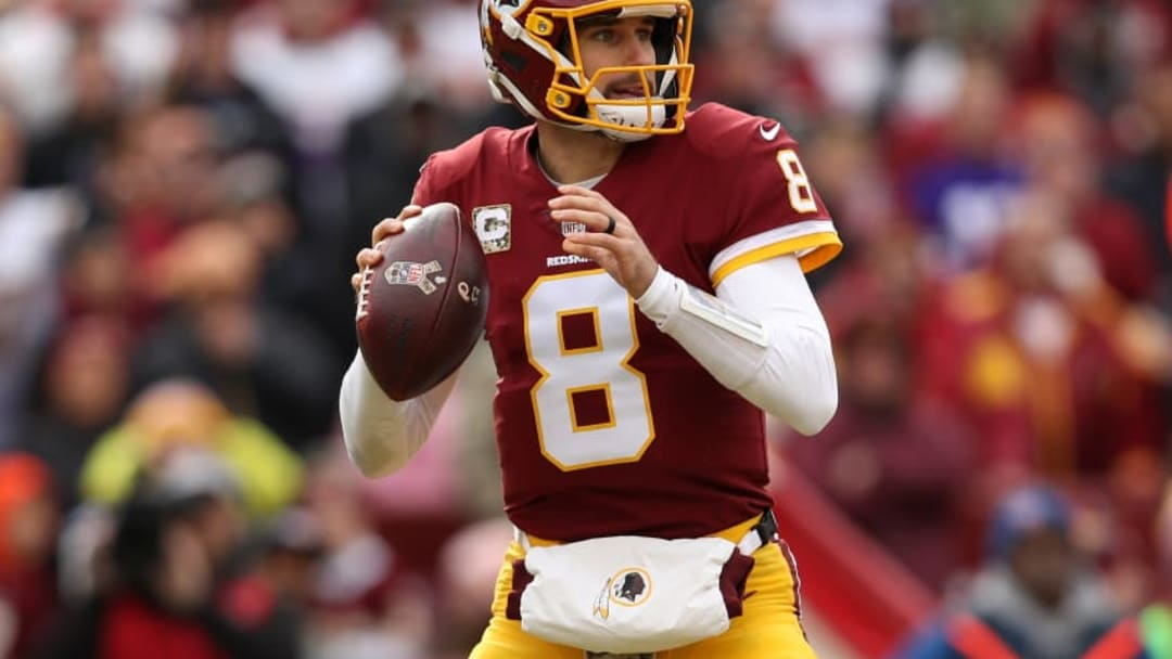 LANDOVER, MD - NOVEMBER 12: Quarterback Kirk Cousins #8 of the Washington Redskins drops back to pass during the first quarter against the Minnesota Vikings at FedExField on November 12, 2017 in Landover, Maryland. (Photo by Patrick Smith/Getty Images)