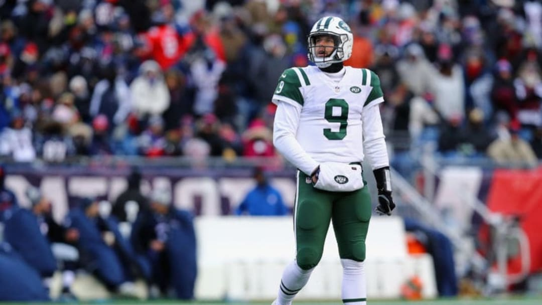FOXBORO, MA - DECEMBER 31: Bryce Petty #9 of the New York Jets reacts during the second half against the New England Patriots at Gillette Stadium on December 31, 2017 in Foxboro, Massachusetts. (Photo by Maddie Meyer/Getty Images)