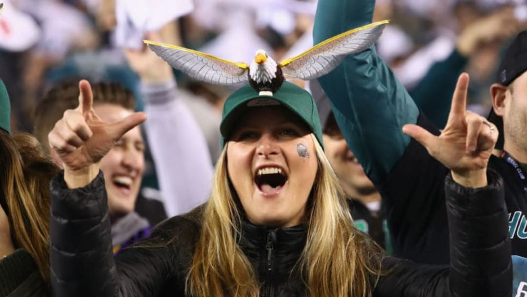 PHILADELPHIA, PA - JANUARY 21: A Philadelphia Eagles fan cheers on her team in the NFC Championship game against the Philadelphia Eagles at Lincoln Financial Field on January 21, 2018 in Philadelphia, Pennsylvania. (Photo by Al Bello/Getty Images)
