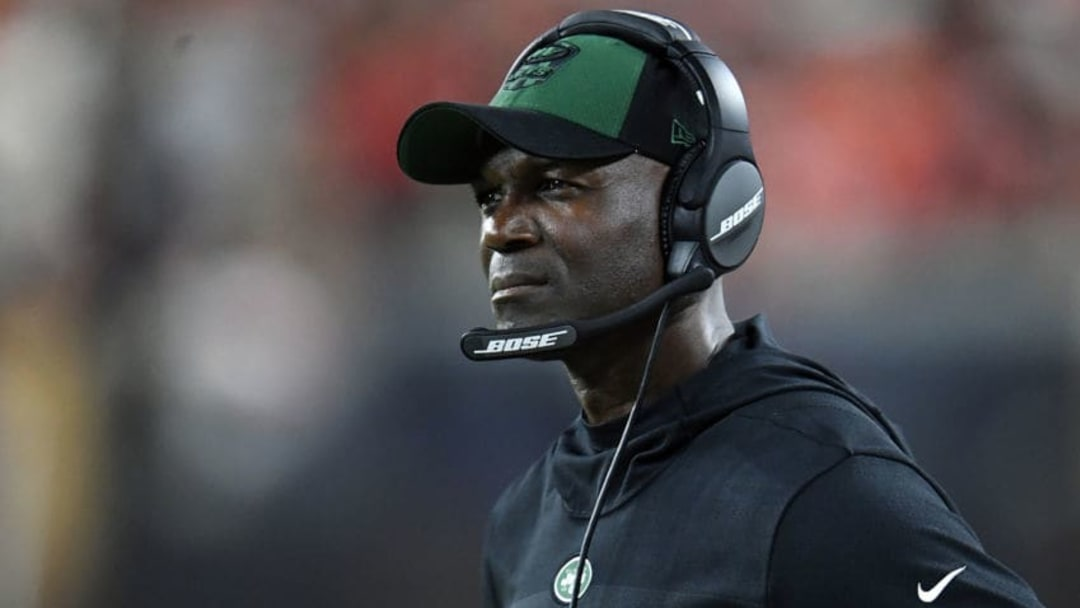 CLEVELAND, OH - SEPTEMBER 20: Head coach Todd Bowles of the New York Jets looks on during the third quarter against the Cleveland Browns at FirstEnergy Stadium on September 20, 2018 in Cleveland, Ohio. (Photo by Jason Miller/Getty Images)