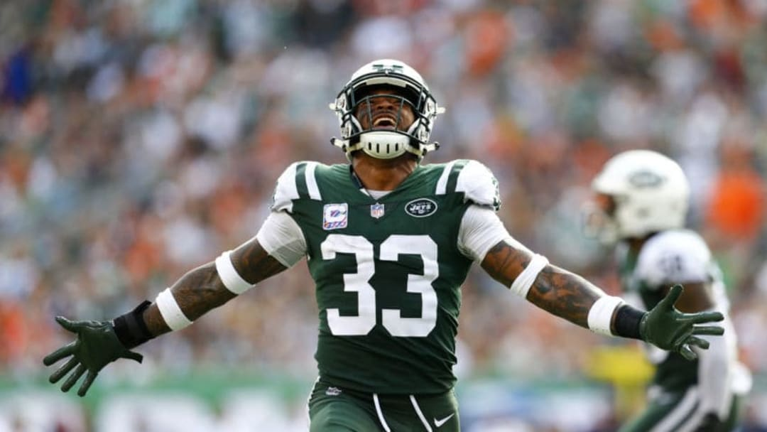 EAST RUTHERFORD, NEW JERSEY - OCTOBER 07: Jamal Adams #33 of the New York Jets reacts against the Denver Broncos during the second half in the game at MetLife Stadium on October 07, 2018 in East Rutherford, New Jersey. (Photo by Mike Stobe/Getty Images)