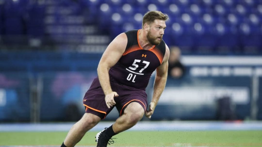 INDIANAPOLIS, IN - MARCH 01: Offensive lineman Jonah Williams of Alabama works out during day two of the NFL Combine at Lucas Oil Stadium on March 1, 2019 in Indianapolis, Indiana. (Photo by Joe Robbins/Getty Images)