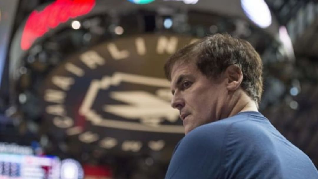 Dec 9, 2015; Dallas, TX, USA; Dallas Mavericks owner Mark Cuban waits for play to resume between the Mavericks and the Atlanta Hawks during the second half at the American Airlines Center. The Hawks defeated the Mavericks 98-95. Mandatory Credit: Jerome Miron-USA TODAY Sports