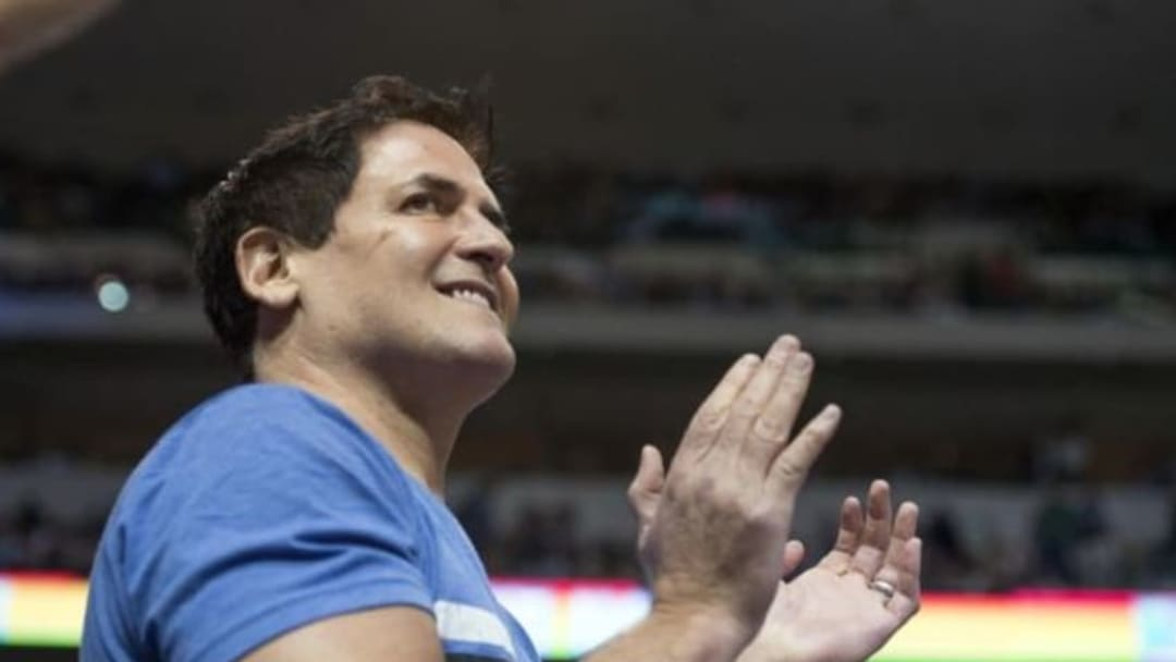 Jan 12, 2016; Dallas, TX, USA; Dallas Mavericks owner Mark Cuban watches his team take on the Cleveland Cavaliers during the first quarter at the American Airlines Center. Mandatory Credit: Jerome Miron-USA TODAY Sports