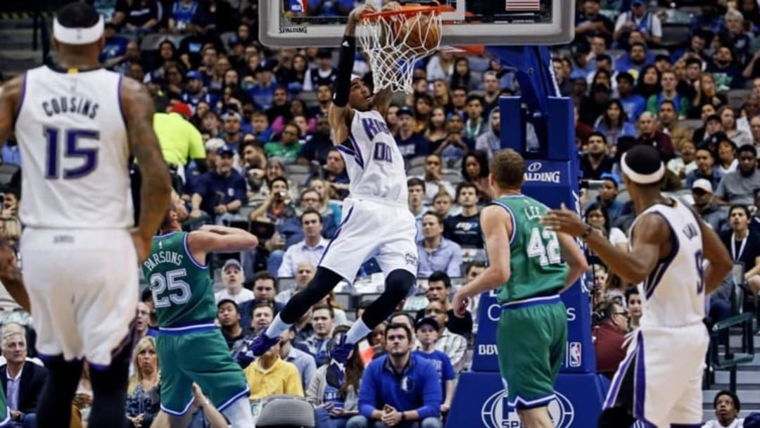 Mar 3, 2016; Dallas, TX, USA; Sacramento Kings center Willie Cauley-Stein (00) dunks during the first quarter against the Dallas Mavericks at American Airlines Center. Mandatory Credit: Kevin Jairaj-USA TODAY Sports