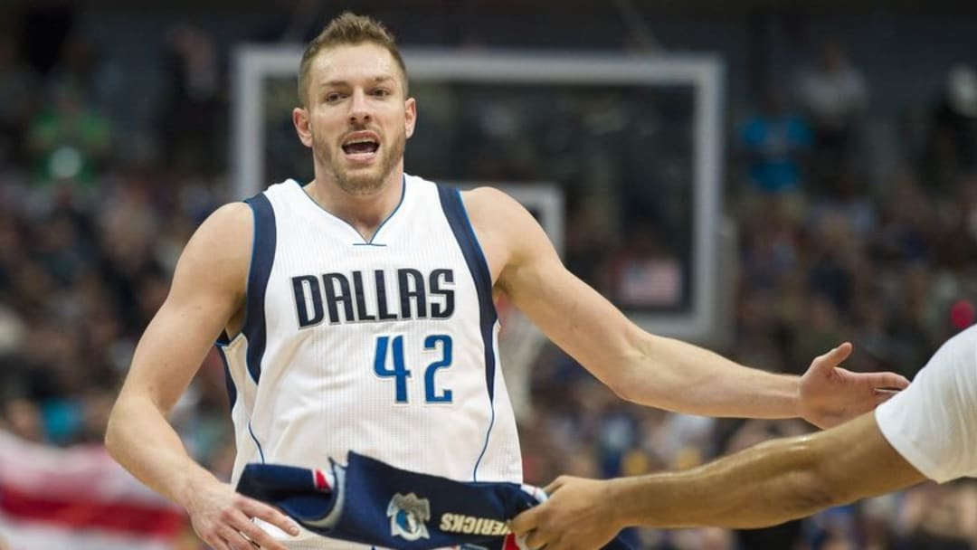 Apr 6, 2016; Dallas, TX, USA; Dallas Mavericks forward David Lee (42) celebrates during the first half against the Houston Rockets at the American Airlines Center. Mandatory Credit: Jerome Miron-USA TODAY Sports