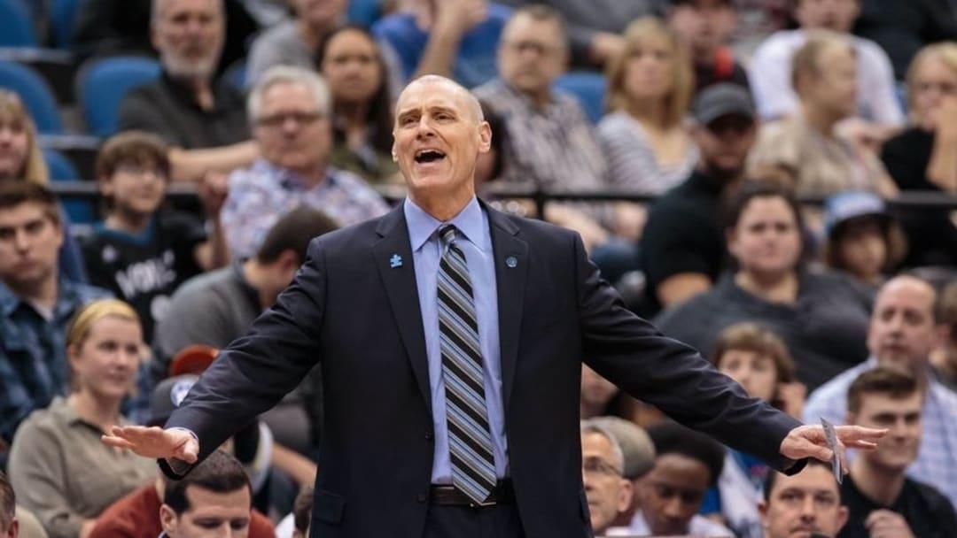 Apr 3, 2016; Minneapolis, MN, USA; Dallas Mavericks head coach Rick Carlisle reacts in the first quarter against the Minnesota Timberwolves at Target Center. Mandatory Credit: Brad Rempel-USA TODAY Sports