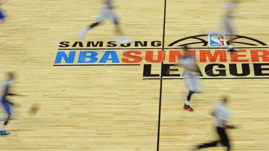 Jul 14, 2015; Las Vegas, NV, USA; New York Knicks and Philadelphia 76ers players run across center court during an NBA Summer League game at Thomas & Mack Center. Mandatory Credit: Stephen R. Sylvanie-USA TODAY Sports