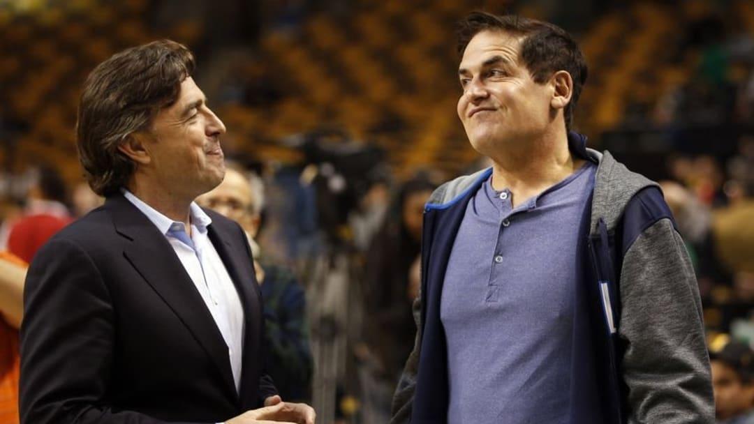Nov 18, 2015; Boston, MA, USA; Dallas Mavericks owner Mark Cuban and Boston Celtics co-owner Wyc Grousbeck talk before the start of the game at TD Garden. Mandatory Credit: David Butler II-USA TODAY Sports