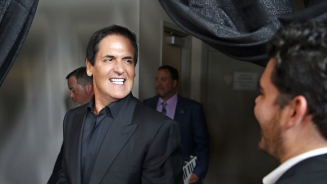 Sept 11, 2016; Atlantic City, NJ, USA; Mark Cuban smiles as he heads out onto the red carpet before the Miss America 2017 pagent at the Boardwalk Hall. Mandatory credit: Thomas P. Costello/Asbury Park Press via USA TODAY NETWORK