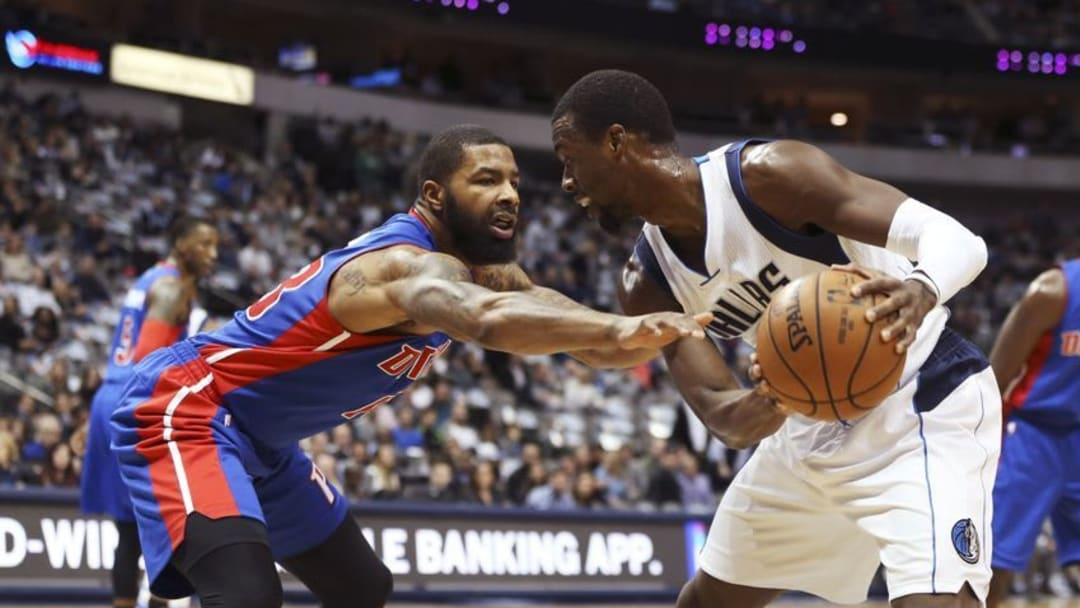 Dec 14, 2016; Dallas, TX, USA; Dallas Mavericks forward Harrison Barnes (40) looks to drive as Detroit Pistons forward Marcus Morris (13) defends during the first quarter at American Airlines Center. Mandatory Credit: Kevin Jairaj-USA TODAY Sports
