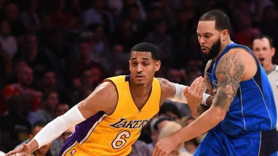 Dec 29, 2016; Los Angeles, CA, USA; Dallas Mavericks guard Deron Williams (8) defends Los Angeles Lakers guard Jordan Clarkson (6) as he drives to the basket in the first half of the game at Staples Center. Mandatory Credit: Jayne Kamin-Oncea-USA TODAY Sports