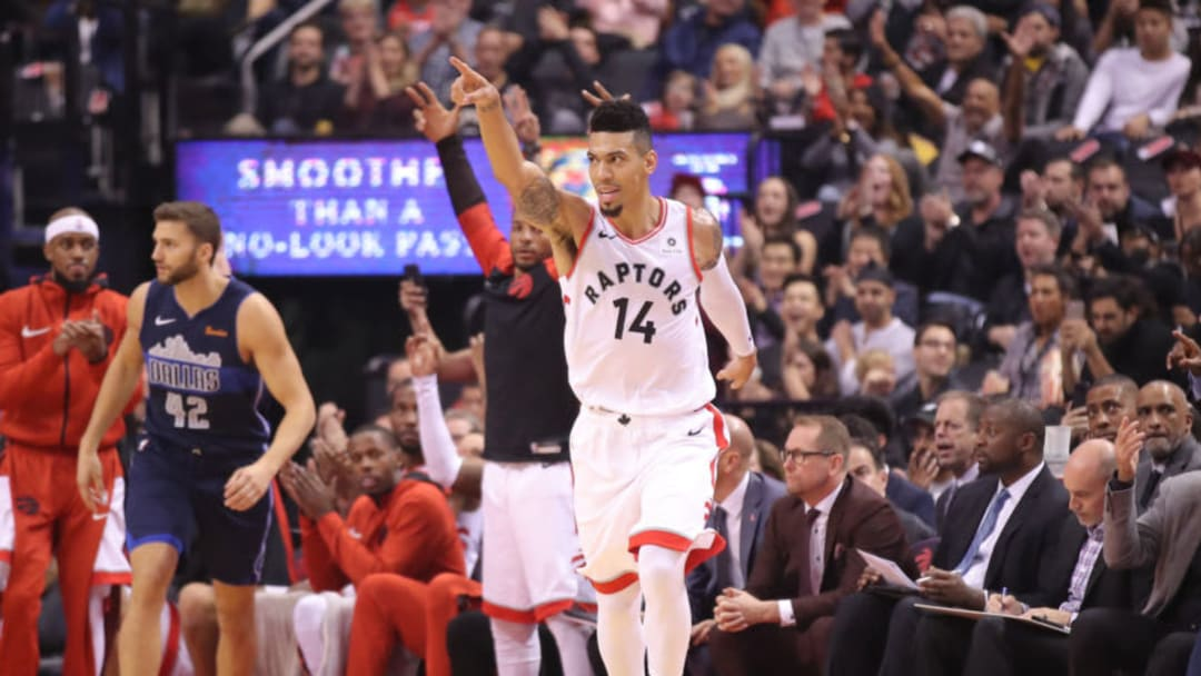 TORONTO, ON - OCTOBER 26: Danny Green #14 of the Toronto Raptors celebrates after making a three-pointer against the Dallas Mavericks at Scotiabank Arena on October 26, 2018 in Toronto, Canada. NOTE TO USER: User expressly acknowledges and agrees that, by downloading and or using this photograph, User is consenting to the terms and conditions of the Getty Images License Agreement. (Photo by Tom Szczerbowski/Getty Images)