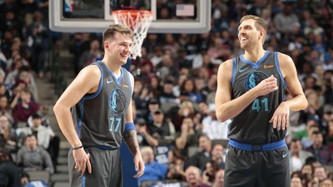 Dallas Mavericks Luka Doncic Dirk Nowitzki Copyright 2018 NBAE (Photo by Glenn James/NBAE via Getty Images)